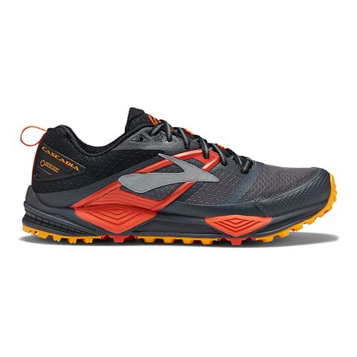 Mens Brooks Cascadia 12 GTX Trail Running Shoe - Grey/Orange 12.5
