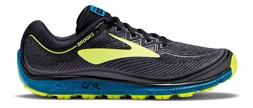 Mens Brooks PureGrit 6 Trail Running Shoe - Black/Neo 8