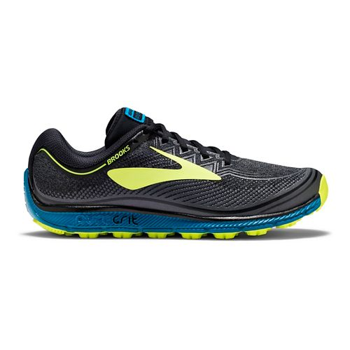Mens Brooks PureGrit 6 Trail Running Shoe - Black/Neo 8