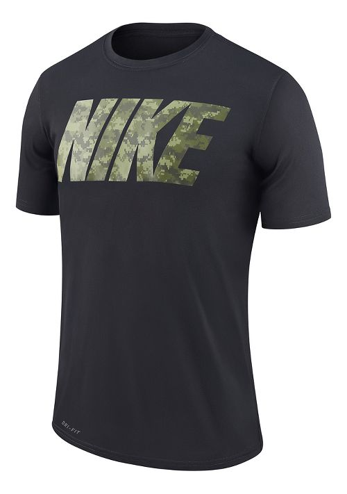 Mens Nike Metcon 3 Camo Shirt Technical Tops - Black/Legion Green XL