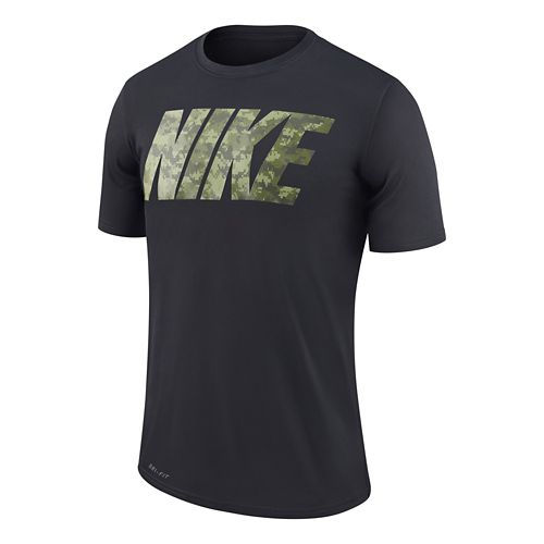 Mens Nike Metcon 3 Camo Shirt Technical Tops - Black/Legion Green L