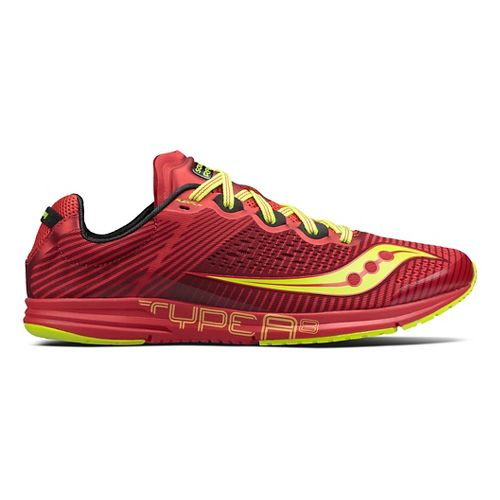 Mens Saucony Type A8 Racing Shoe - Red/Citron 8.5
