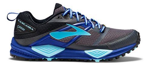Womens Brooks Cascadia 12 GTX Trail Running Shoe - Black/Blue 6.5