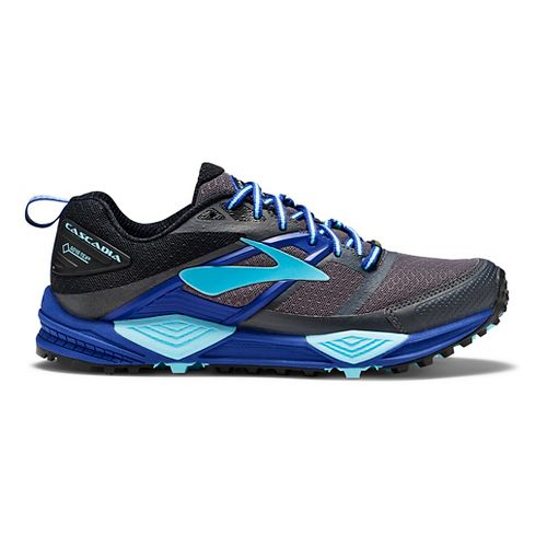 Womens Brooks Cascadia 12 GTX Trail Running Shoe - Black/Blue 11.5