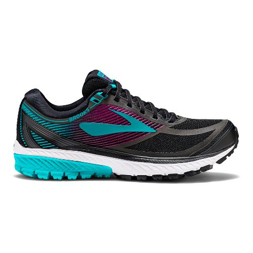Womens Brooks Ghost 10 GTX Running Shoe - Black/Green 11