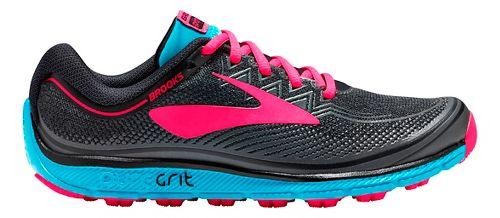 Womens Brooks PureGrit 6 Trail Running Shoe - Black/Pink 11.5