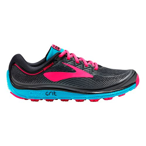 Womens Brooks PureGrit 6 Trail Running Shoe - Black/Pink 7.5