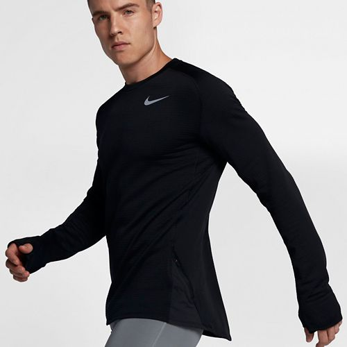 Mens Nike Therma Sphere Element Crew Long Sleeve Technical Tops - Black L