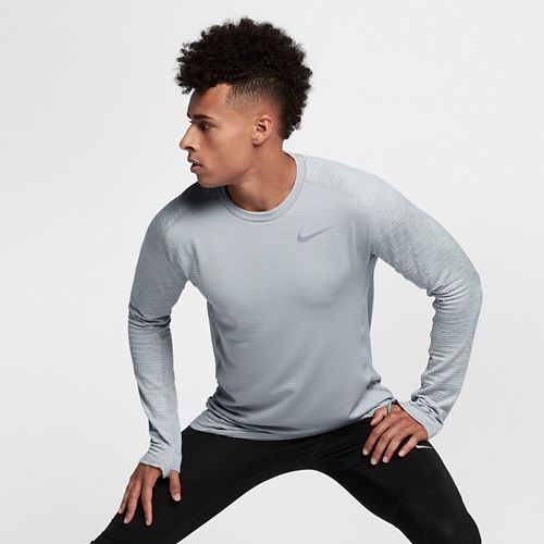 Mens Nike Therma Sphere Element Crew Long Sleeve Technical Tops - Wolf Grey L