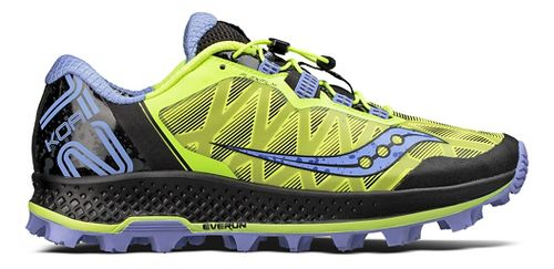 Womens Saucony Koa ST Trail Running Shoe - Citron/Purple 5