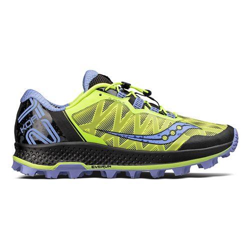 Womens Saucony Koa ST Trail Running Shoe - Citron/Purple 10.5