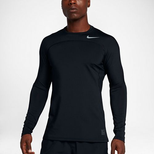 Mens Nike Pro Hyperwarm Long Sleeve Technical Tops - Black S