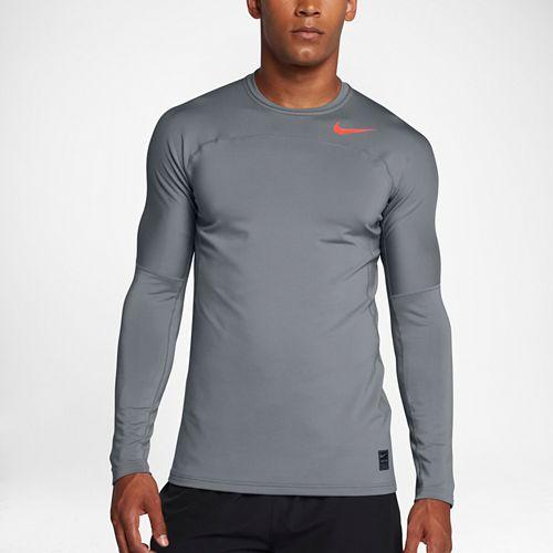 Mens Nike Pro Hyperwarm Long Sleeve Technical Tops - Cool Grey/Crimson S