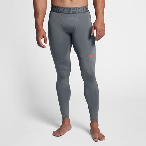 Mens Nike Pro Hyperwarm Tights & Leggings Pants - Cool Grey/Crimson S