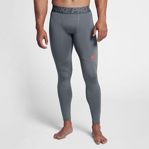 Mens Nike Pro Hyperwarm Tights & Leggings Pants - Cool Grey/Crimson L