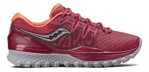 Womens Saucony Xodus ISO 2 Trail Running Shoe - Berry/Coral 11.5