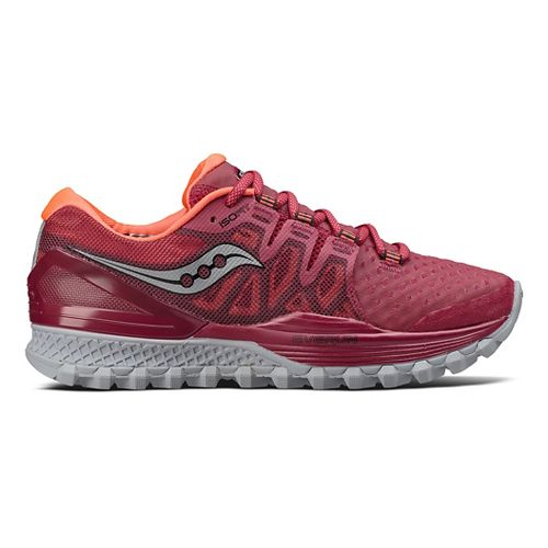 Womens Saucony Xodus ISO 2 Trail Running Shoe - Berry/Coral 8.5