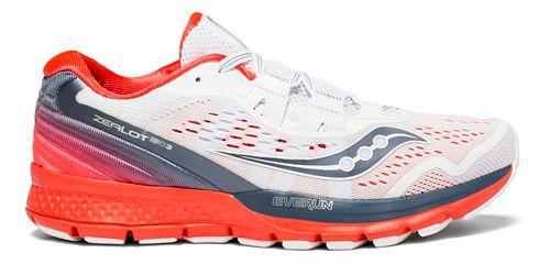 Womens Saucony Zealot ISO 3 Running Shoe - White/Grey/Red 10.5
