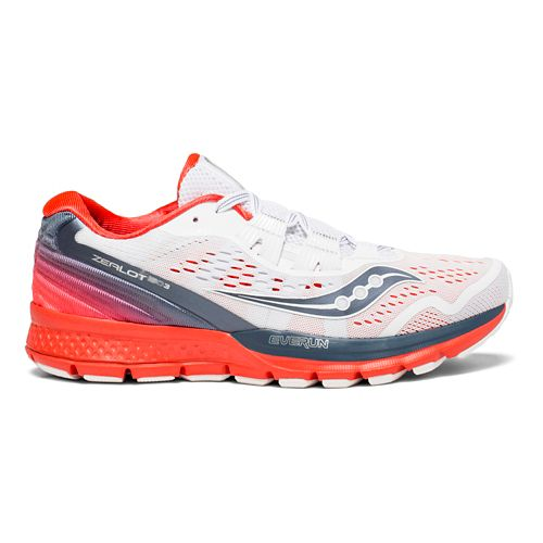 Womens Saucony Zealot ISO 3 Running Shoe - White/Grey/Red 5