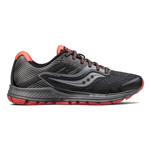 Womens Saucony Ride 10 Reflex Running Shoe - Black/Coral 9