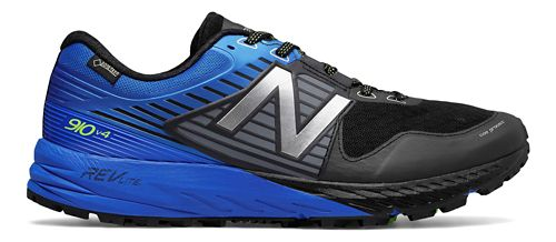 Mens New Balance 910v4 GTX Trail Running Shoe - Black/Vivid Cobalt 10.5