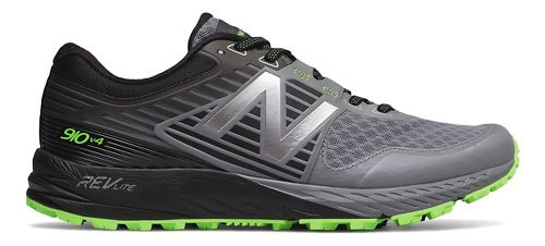 Mens New Balance 910v4 Trail Running Shoe - Gunmetal/Lime 10