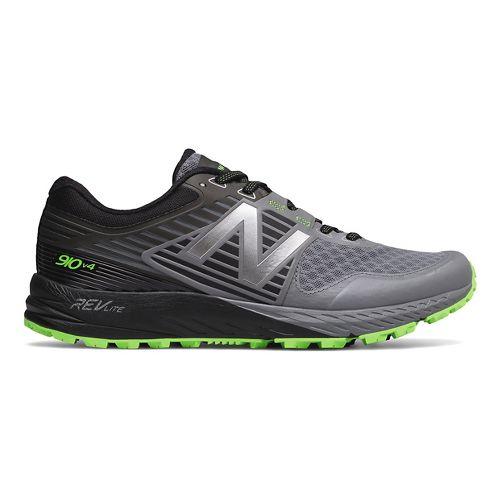 Mens New Balance 910v4 Trail Running Shoe - Gunmetal/Lime 10.5