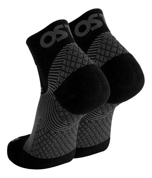 OS1st FS4 Plantar Fasciitis Quarter Crew Socks Injury Recovery - Black L