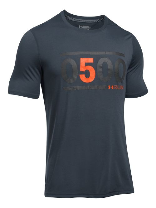 Mens Under Armour 5am Run Tee Short Sleeve Technical Tops - Grey/Black XL