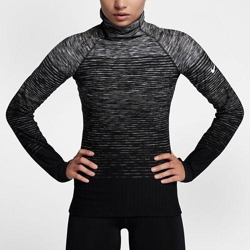 Womens Nike Pro Hyperwarm Top Cold Weather Technical Tops - Dark Grey/White M