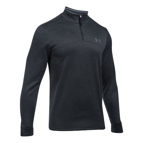 Mens Under Armour Fleece 1/4 Zip Slub Half-Zips & Hoodies Technical Tops - Black/Graphite 3XL-T