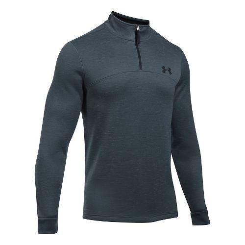 Mens Under Armour Fleece 1/4 Zip Slub Half-Zips & Hoodies Technical Tops - Stealth Grey/Black L