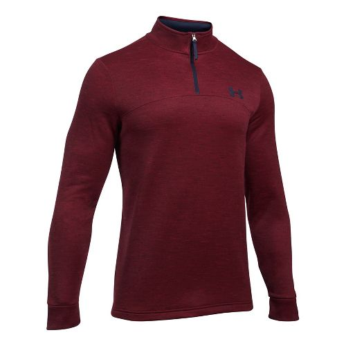 Mens Under Armour Fleece 1/4 Zip Slub Half-Zips & Hoodies Technical Tops - Red/Navy XL