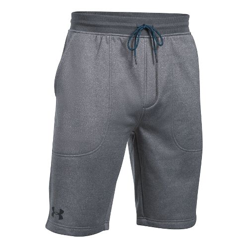 Mens Under Armour Fleece Fitted Unlined Shorts - Carbon Heather M
