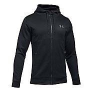 Mens Under Armour Fleece Full-Zip Half-Zips & Hoodies Technical Tops - Black/Black XL