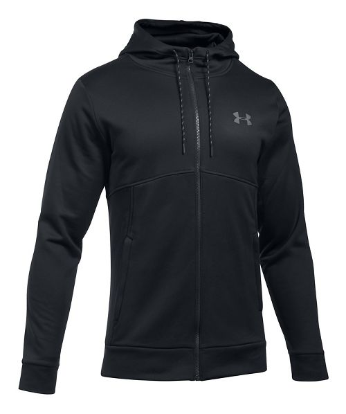Mens Under Armour Fleece Full-Zip Half-Zips & Hoodies Technical Tops - Black/Black L