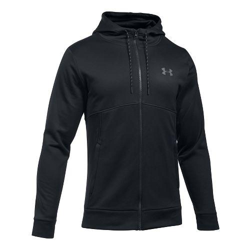 Mens Under Armour Fleece Full-Zip Half-Zips & Hoodies Technical Tops - Black/Black L