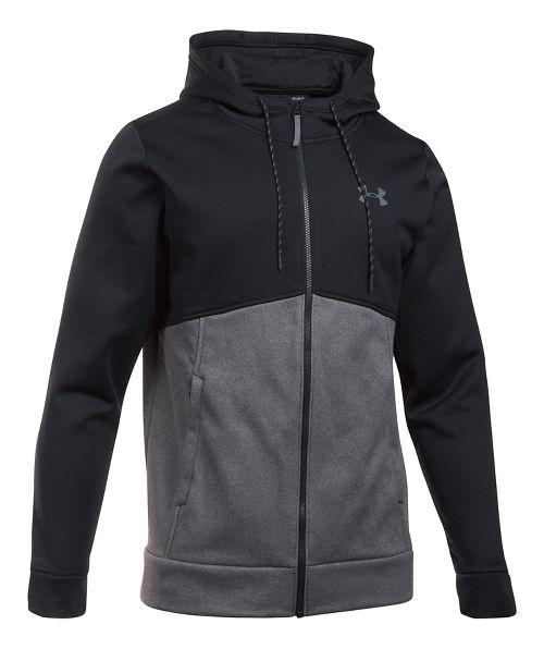 Mens Under Armour Fleece Full-Zip Half-Zips & Hoodies Technical Tops - Black/Carbon L