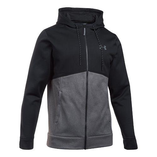 Mens Under Armour Fleece Full-Zip Half-Zips & Hoodies Technical Tops - Black/Carbon XXL