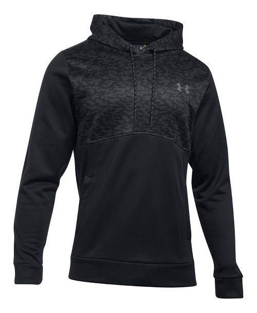 Mens Under Armour Fleece Hood - Digi Texture Half-Zips & Hoodies Technical Tops - Black L-T