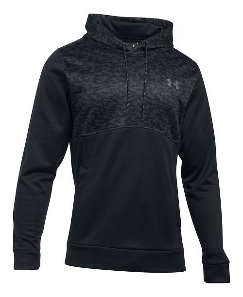 Mens Under Armour Fleece Hood - Digi Texture Half-Zips & Hoodies Technical Tops - Black M