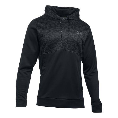Mens Under Armour Fleece Hood - Digi Texture Half-Zips & Hoodies Technical Tops - Black S