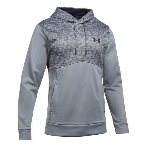 Mens Under Armour Fleece Hood - Digi Texture Half-Zips & Hoodies Technical Tops - Steel 3XL
