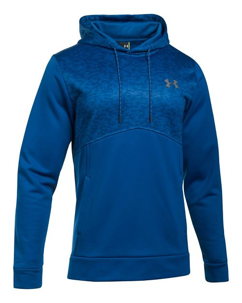 Mens Under Armour Fleece Hood - Digi Texture Half-Zips & Hoodies Technical Tops - Royal L