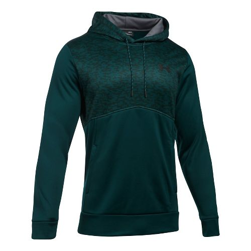 Mens Under Armour Fleece Hood - Digi Texture Half-Zips & Hoodies Technical Tops - Arden Green S