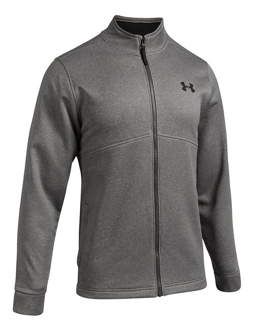 Mens Under Armour Fleece Icon Full-Zip Running Jackets - Carbon Heather L