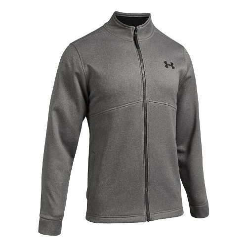 Mens Under Armour Fleece Icon Full-Zip Running Jackets - Carbon Heather 3XL