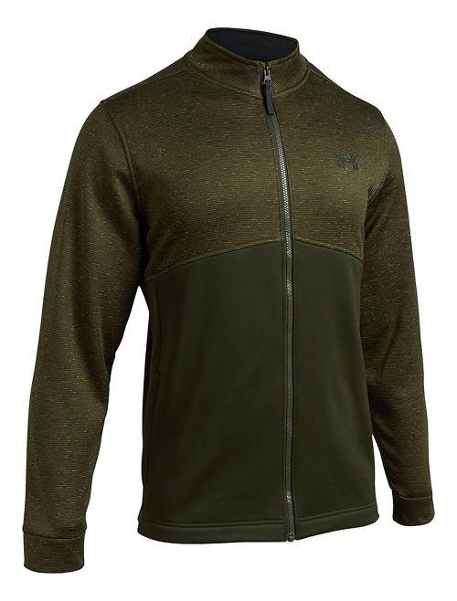 Mens Under Armour Fleece Icon Full-Zip Running Jackets - Artillery Green L-T