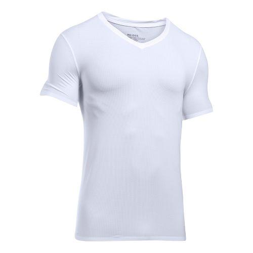Mens Under ArmourVent Mesh V-Neck Short Sleeve Technical Tops - White XXL