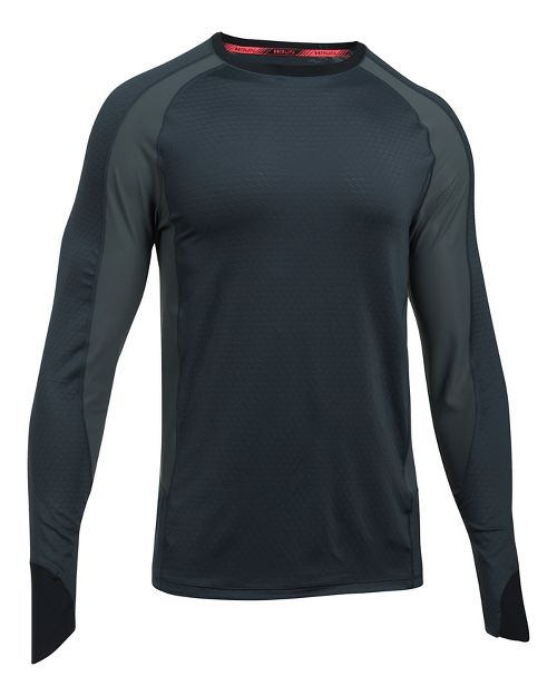 Mens Under Armour Speed To Burn Long Sleeve Technical Tops - Stealth Grey M